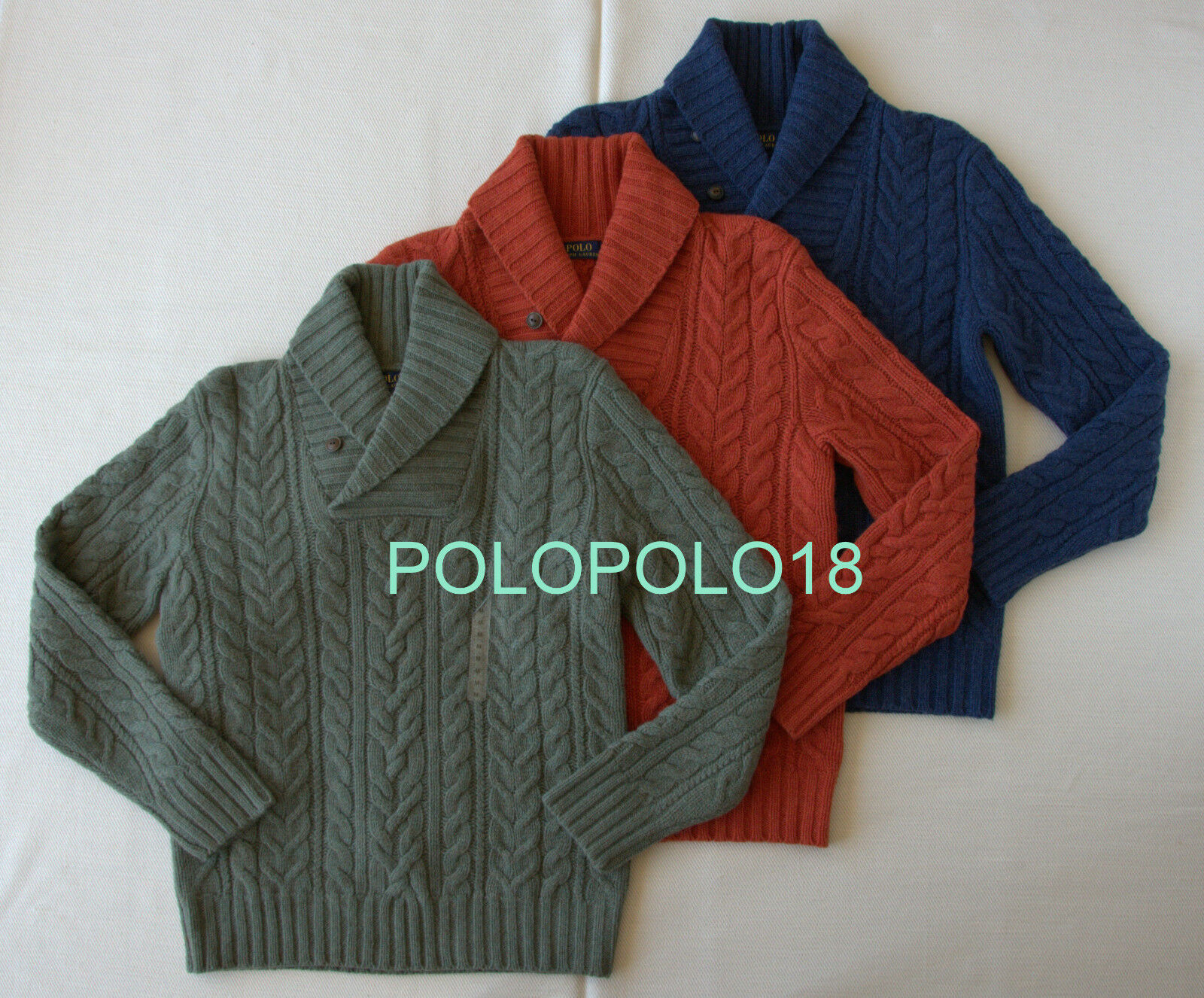 New 225 Polo Ralph Lauren Merino Angora Wool Shawl Cable Knit Sweater L