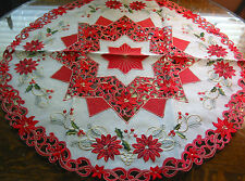 """Christmas Embroidered Tablecloth Cut Work Star Poinsettia 34""""RD Red White NEW"""