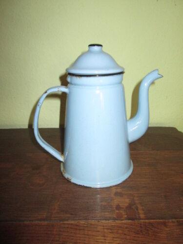 Emaille schöne alte Kaffeekanne hellblau 20 cm guter Zustand