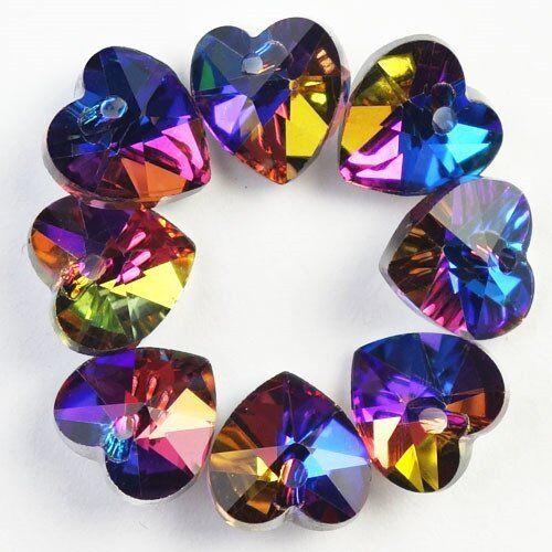 8Pcs 10x6mm Faced Multicolor Crystal Heart Pendant Bead JL181227