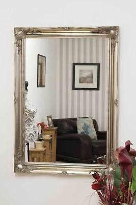 Large Silver Antique Ornate Design Big Wall Mirror New 3Ft6 X 2Ft6 106cm X 76cm
