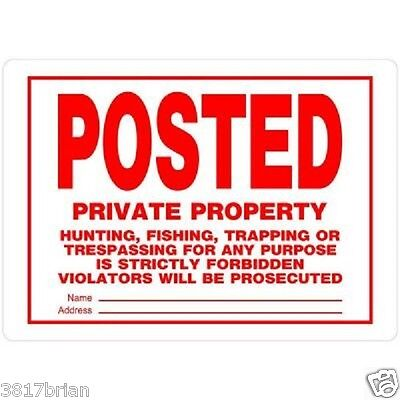 POSTED Private Property No Trespassing Hunting Fishing Trapping Metal Sign
