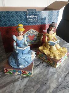 Disney Traditions Showcase Cinderella & Belle Bookends 4033970 very rare