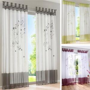 Details zu Wohnzimmer Modern Schlaufenschal Vorhang Gardine Gardinenschal  Schlaufen Blumen