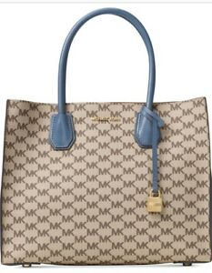 c725ccdfcd299 Image is loading New-MICHAEL-KORS-MERCER-Signature-LARGE-CONVERTIBLE-tote-