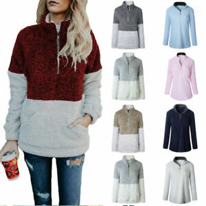 Womens-Zipper-Sweater-Tops-Pullover-Jumper-Warm-Long-Sleeve-Coat-Winter-Autumn