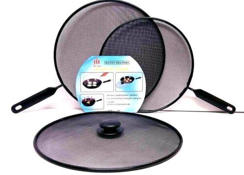 3 X Metal Mesh éclaboussures garde écran Couvercle Poêle Grill Pan Knob Couvercles Set Noir