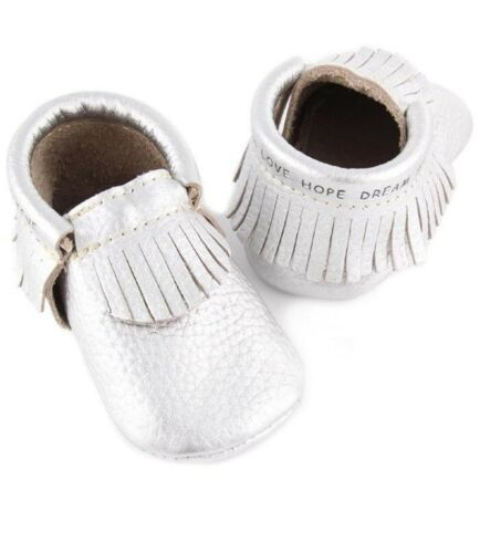 First Steps CLASSIC Metallic Leather Moccasins with Bible Verse.