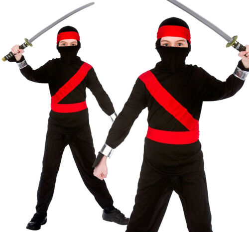 JAPANESE NINJA POWER WARRIOR COSTUME HALLOWEEN FANCY DRESS CHILDS KIDS SAMURAI