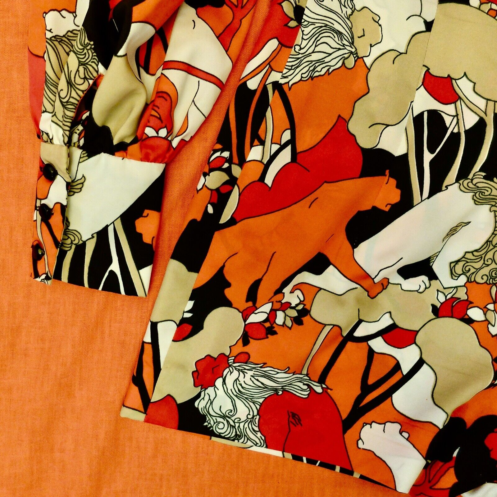 Vintage 60s 70s Handmade Psychedelic Lion Print R… - image 9