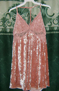 New-Sexy-Timing-Pink-Crushed-Velvet-Floral-Lace-T-Back-Short-Western-Dress-S