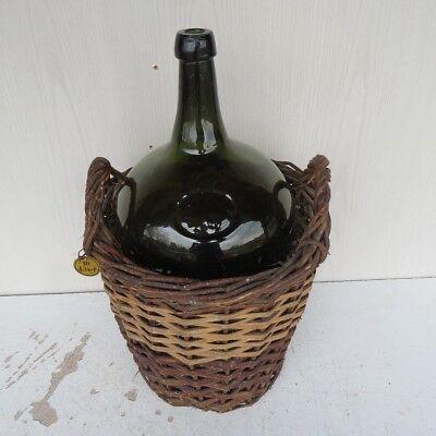 Antiker Glasballon 10 L Gestempelt Mundgeblasen Mit Abriss Im Weidenkorb Gefäße Korb Volumen Groß Alte Berufe