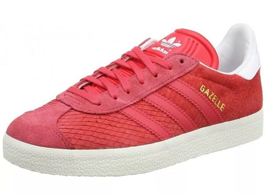 Adidas Gazelle Womens Size 10 Core Pink White Reptile Suede Athletic BB5174 NEW