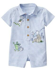dab9a76d3f3 NWT Gymboree Peter Rabbit Striped Romper 3 6 12 18 mo Baby Boy