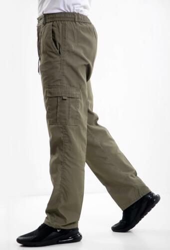 Mens Elasticated Cargo Combat Work lightweight Cotton Trousers Bottoms Pants
