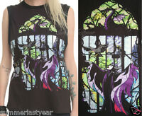 Maleficent, Disney Sleeping Beauty Juniors Muscle Top In A Stained Glass Design
