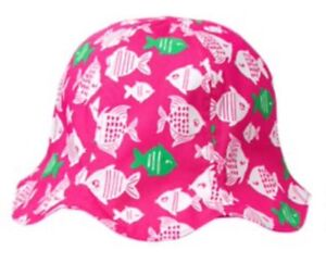 52829dd1 Gymboree Girls Baby Sunny Day Swim Shop Pink Fish Reversible Sun Hat ...