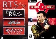 RTS Trilogy Battle Realms Settlers IV&Shogun Total War&hammer+sickle  new&sealed