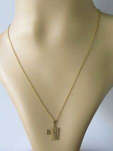 """9ct Collar De Oro-Vintage 9ct Oro Amarillo """"No.1 mamá Colgante & 9ct Cadena de oro"""