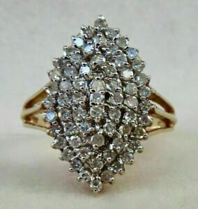 1-50-CT-Round-Cut-Diamond-14K-Yellow-Gold-Finish-Women-039-s-Cluster-Pretty-Ring