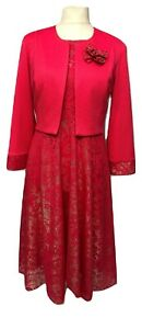 Womens-Coral-Lace-Dress-With-Bolero-Jacket-For-Church-Wedding-Occasions