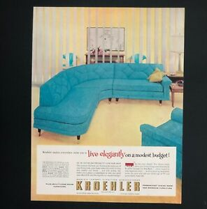 1957 Kroehler Advertisement MCM Furniture Aqua Couch ...