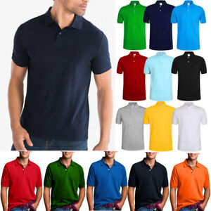 Men-039-s-Polo-Shirt-Dri-Fit-Quick-Dry-Golf-Sports-Tee-Cotton-Jersey-Plain-T-Shirt