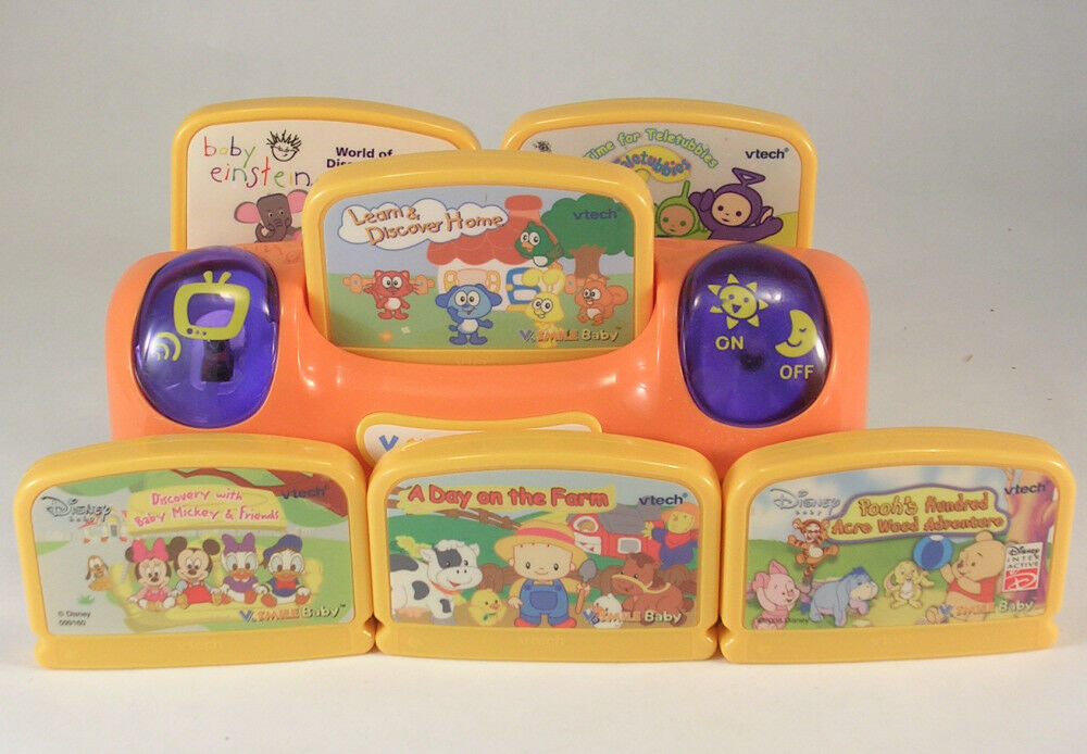 VTech V.Smile Baby Console Plus 6 Games Baby Einstein, Pooh, Teletubbies, Farm +