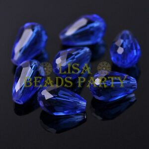 New-20pcs-16X10mm-Faceted-Teardrop-Crystal-Glass-Spacer-Loose-Beads-Blue