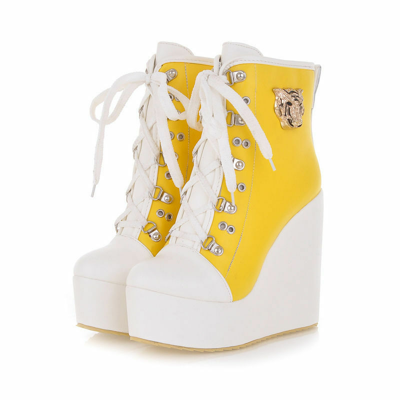 boots Damens's schuhe laces wedge 12 cm like Leder comfortable sports yellow