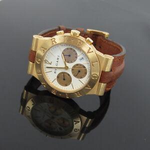 5659884f338 Image is loading Estate-Bulgari-Bvlgari-Diagono-18k-Gold-Date-Chronograph-