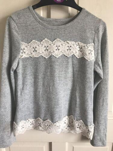 Age 4-13 Years Girls Grey// Crochet Detail BNWOT Matalan Long Sleeve Top