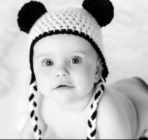 CROCHET PANDA BABY HAT knit infant toddler child adult beanie photo prop USA