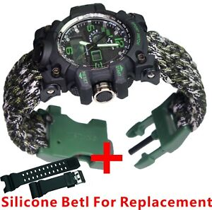 Image Is Loading Military Paracord Survival Sport Swimming Wrist Watch Tactical