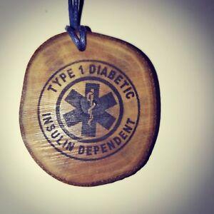 Diabetic-Type-1-Insulin-Dependant-Handmade-Wooden-Necklace-Medical-Charm