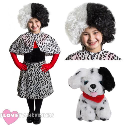 GIRLS EVIL DOG LADY COSTUME DRESS CAPE GLOVES CHILD WORLD BOOK DAY FANCY DRESS