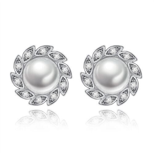 Women Fashion 925 Silver Filled Creative Leaf Pearl Stud Earrings Christmas Gift