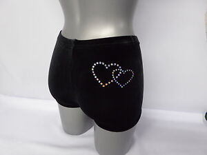 94ea7e88a3e1 Image is loading Personalised-Gymnastics-Shorts-with-Hearts-Black-Velour -all-