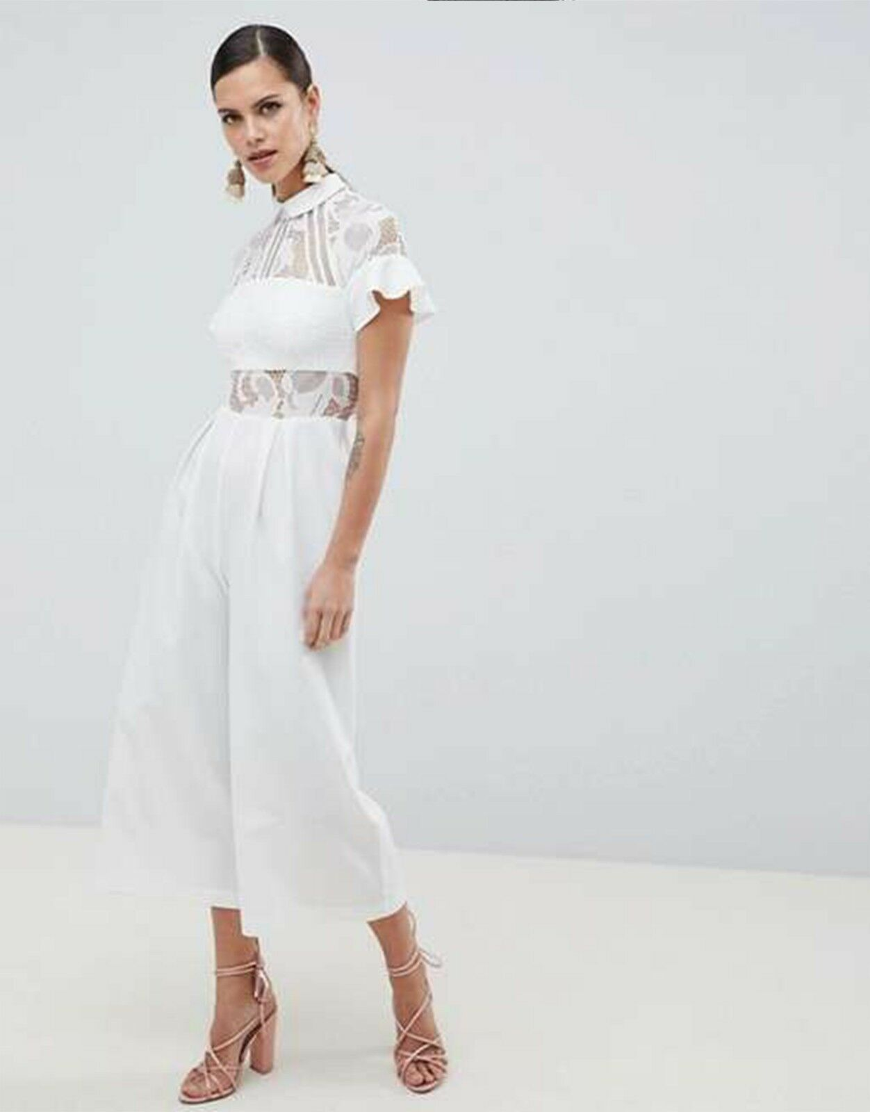 ASOS™  82 DESIGN Lace Top Jumpsuit Culotte Leg Regular   Curve White