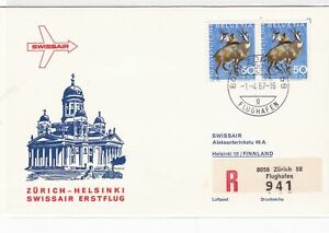 swissair 1967 registered   stamps cover  ref 12184