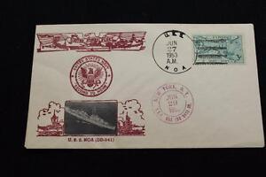 Marine-Abdeckung-1953-Schiff-Stempel-SCHIFFS-Bild-Cachet-Uss-Noa-DD-841-2299
