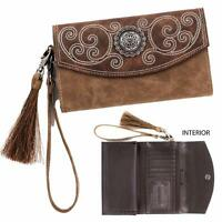 Blazin Roxx Western Womens Wallet Molly Clutch Tassel Concho Brown N7537402