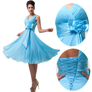 Short Chiffon Bridesmaid Homecoming Formal Gown Ball Party Evening Prom Dresses