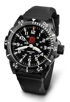 Praetorian Night Patrol Black PVD Military Watch Tritium H3 Illumination GTLS