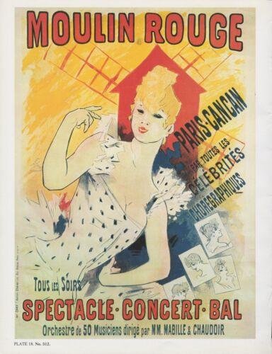 """1980 Vintage /""""MOULIN ROUGE/"""" PARIS CANCAN CHERET MINI POSTER Art Plate Lithograph"""