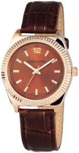 Excellanc-Damenuhr-Braun-Gold-Analog-Metall-Kunstleder-Armbanduhr-X195237000029