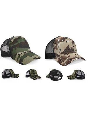 Compiacente Cappello Mimetico Camouflage Trekking Beechfield Cappellino Berretto Con Visiera
