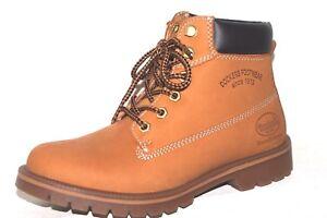 Dockers-Boots-des-rangers-bottes-alpinistes-Bottes-Beige-Jaune-Cuir-Femmes