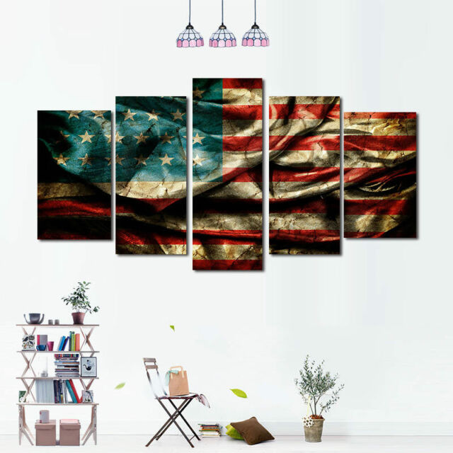 5Pcs Canvas Print Painting American Flag Picture Wall Art Home Decor on mid century modern wall design, inspirational wall design, curtain wall design, handmade wall design, decorating idea wall design, exterior home wall design, rustic log cabin wall design, quilting wall design, modern interior wall design,