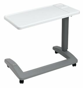 Overbed-Table-Hospital-Bedside-Adjustable-Over-Wheelchair-Seat-Tray-Rolling-New